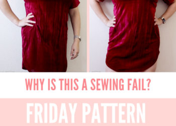 2 side by side images of a curly haired Latina woman in a handmade velvet dress standing in front of a map of the USA on a blank white wall not looking very happy. Text below image reads Why Is This a Sewing Fail? Friday Pattern Company Sunny Dress petite font dot com