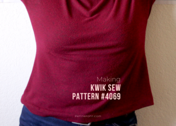 Zoomed in shot of a women's torso in a red sweater with text overlay that reads Making Kwik Sew Pattern #4069, petitefont.com
