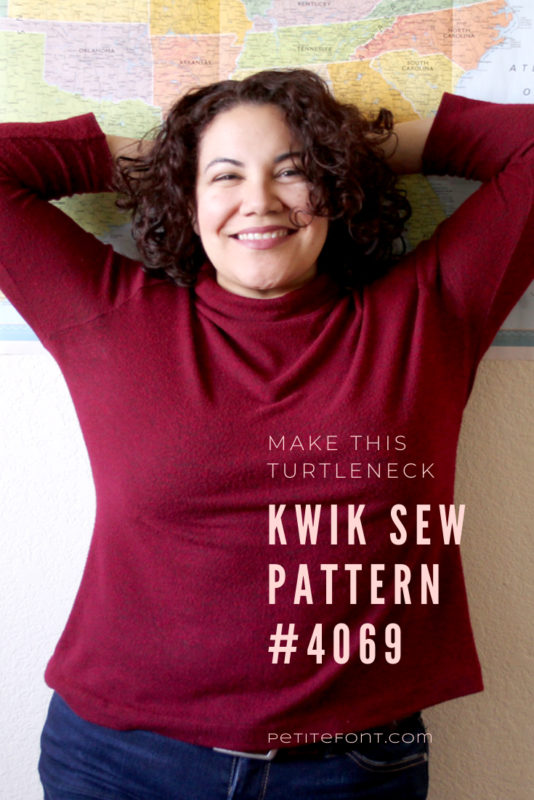Curly haired Latina woman in red turtleneck leaning with her arms behind her head against a wall with a map of the USA. Text overlay reads Make this Turtleneck: Kwik Sew Pattern #4069, petitefont.com