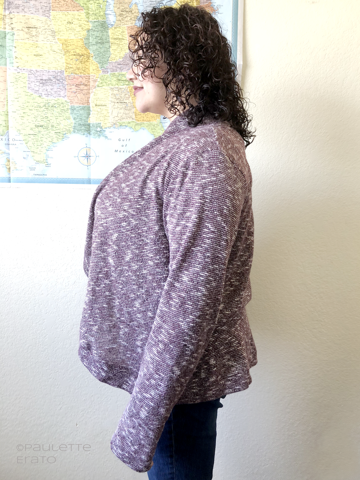 Rebecca Page Circle Cardi in heathered maroon sweater knit - side view