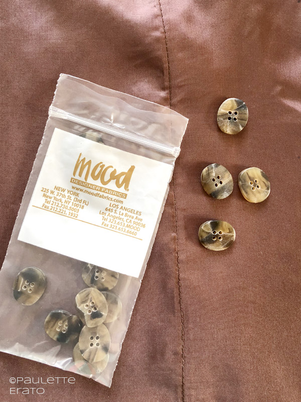 McCall's 7206 in brown silk shirt with buttons from Mood
