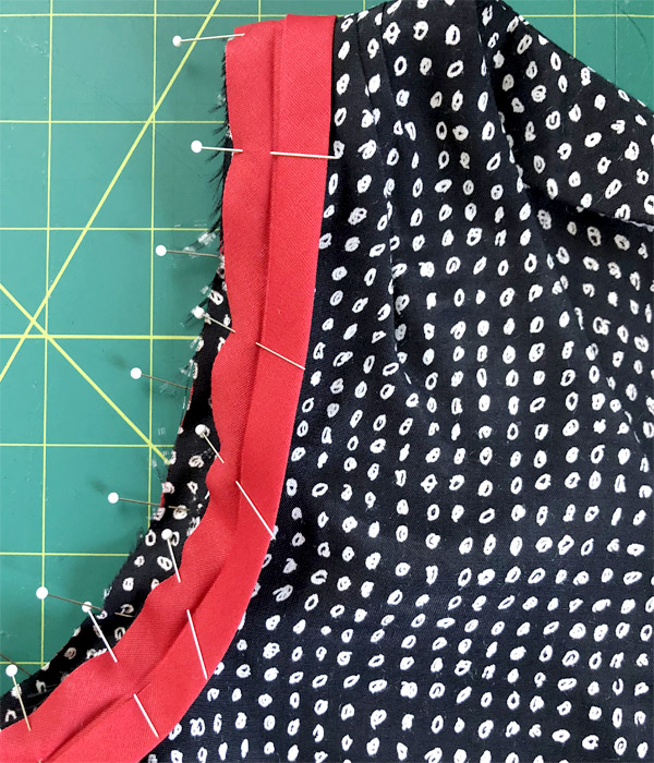 Attach bias tape right sides together for Dana Point top pattern hack
