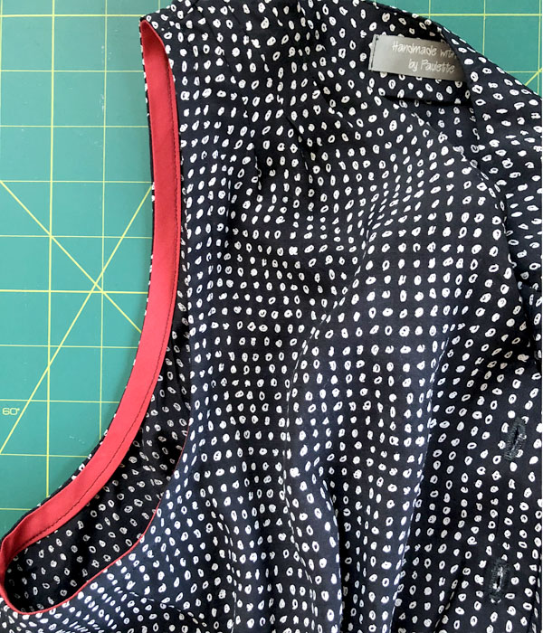 Fold bias tape to inside and sew down for Dana Point top pattern hack