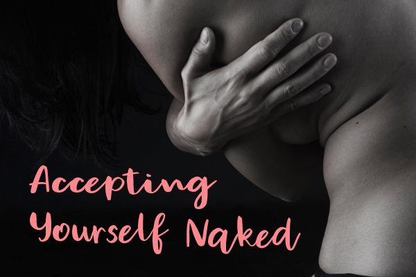 Accepting Yourself Naked: woman's hand wrapped around her naked side from the back. Original photo by Rodolfo Clix