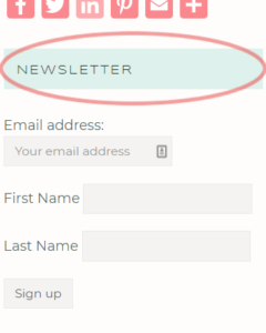 Newsletter sign-up location