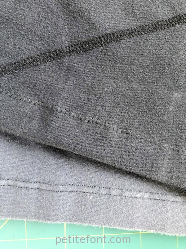 Shorten yoga pants - hem finish examples