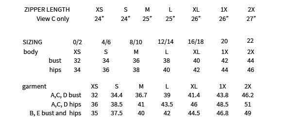 Halifax Hoodie sizing chart