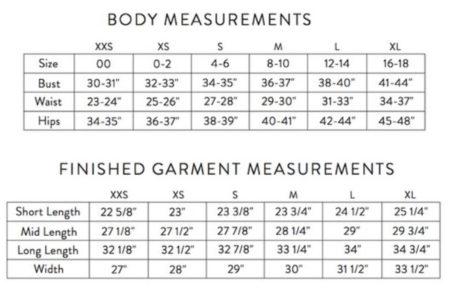 Wiksten Haori Jacket size chart