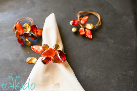 November Maker Roundup Jeweled Fall Napkin Ring Tutorial tikkido.com