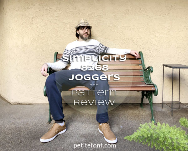 Simplicity 8268 Pattern Review: Joggers for Men, man sitting on bench in blue sweatpants