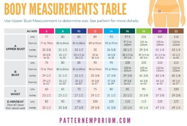 Pattern Emporium True Romance Size Chart