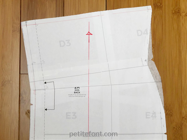 Deer and Doe Givre dress pattern review: back bodice with new grainline