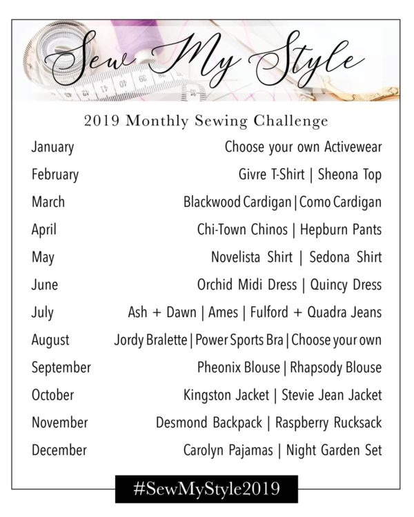 Project #SewMyStyle2019 pattern list