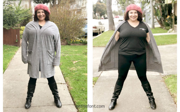 Side by side view of the Como cardigan hanging down and with wind blowing, showing the oversized nature of the cardigan in comparison to the body underneath