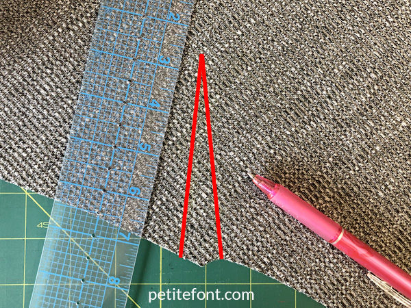 Como Cardigan Sew Along: shoulder dart highlighted with ruler and marking tool