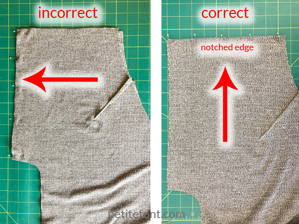 Como Cardigan Sew Along: two images showing the incorrect and correct way to sew the back seam