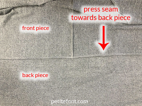 Como Cardigan Sew Along: front and back are now attached, press the seam towards the back piece
