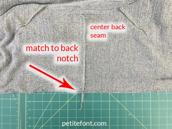 Como Cardigan Sew Along: attach back piece to yoke, matching center back seam on yoke to notch on back