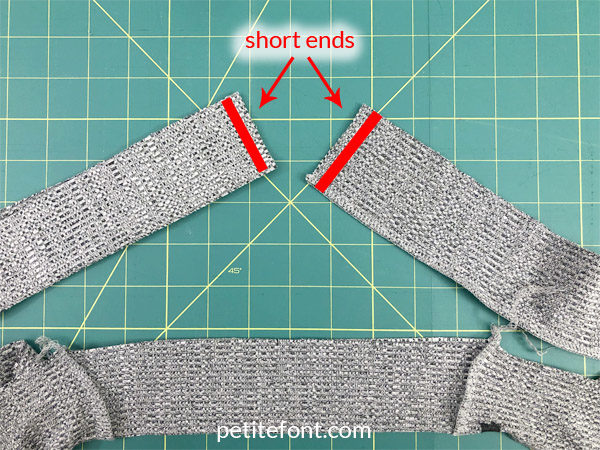 "Como Cardigan Sew Along: sew the short ends of the band at 3/8"" or 1 cm hem allowance"