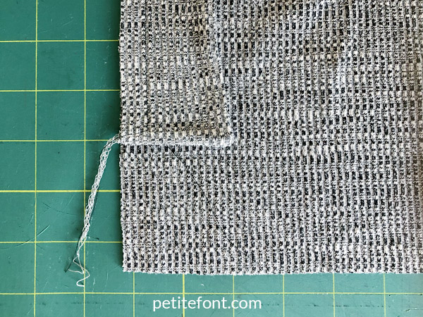 Como Cardigan Sew Along: front band is shorter than front of cardigan, fold cardigan up to meet it