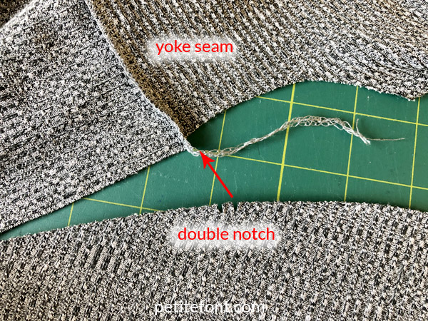 Como Cardigan Sew Along: showing back yoke seam and double notch on sleeve