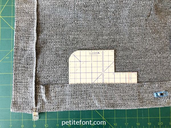 Como Cardigan Sew Along: fold the hem up to the wrong side about 2 inches or 5 centimeters