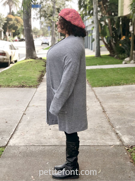 Como cardigan modeled from front on woman viewed from the side