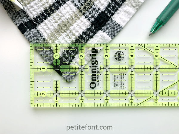 Easy to Sew Towel Hanging Loops Tutorial: mark your loop location