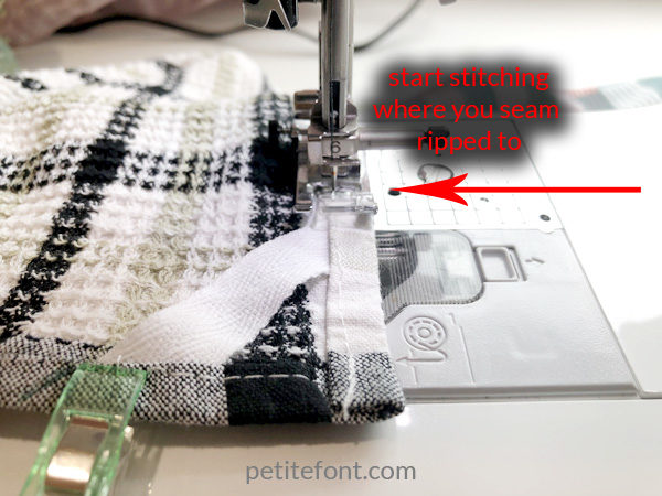 Easy to Sew Towel Hanging Loops Tutorial: begin stitching before ripped seam to lock the original stitches