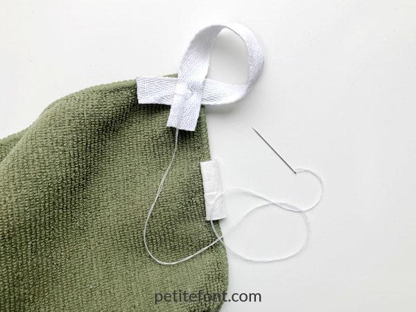 Easy to Sew Towel Hanging Loops Tutorial: sew on the loop