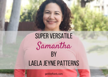 Woman in coral orange sweater with text overlay super versatile Samantha by Laela Jeyne Patterns