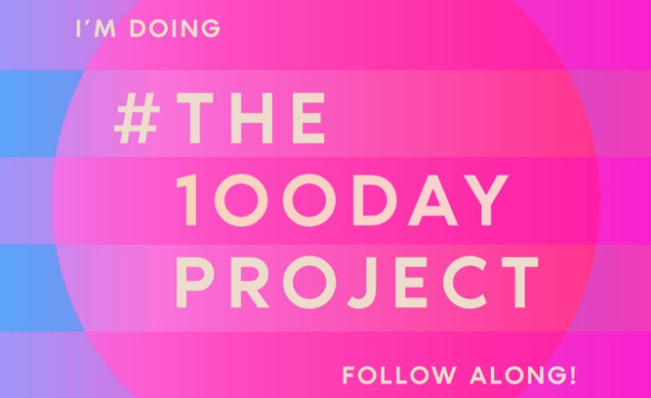 Pink and blue background with light yellow text that reads I'm doing #The100DayProject follow along