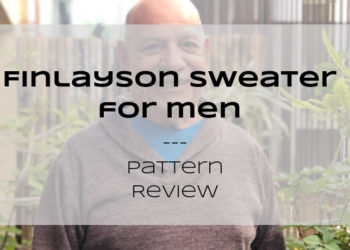 Text over a bald male reads Finlayson Sweater for Men--Pattern Review, Petite Font dot com