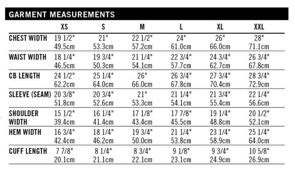 Finlayson sweater size chart