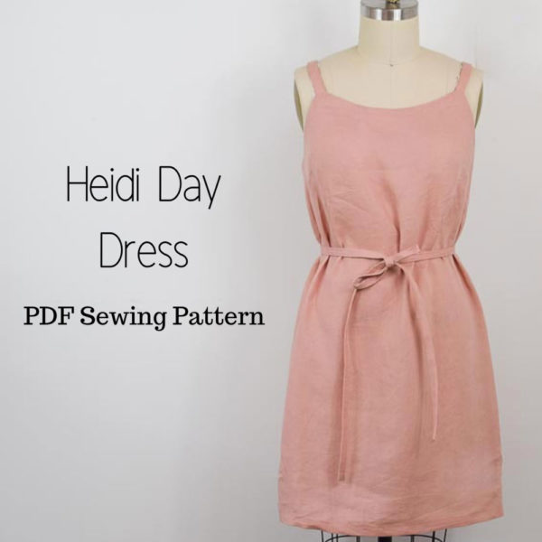 Pink shift Heidi Day dress on mannequin with text Heid Day Dress PDF sewing pattern