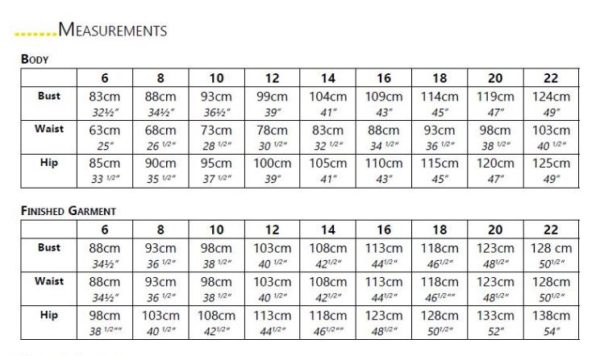 Heidi Day dress size chart and finished garment measurments from Australian sizes 6-22