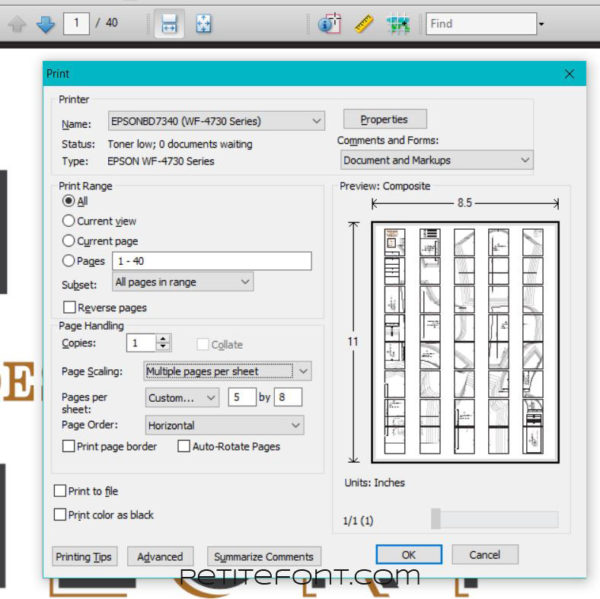 Adobe Acrobat print dialog to print a pattern layout on one paper when one is not included in the pattern