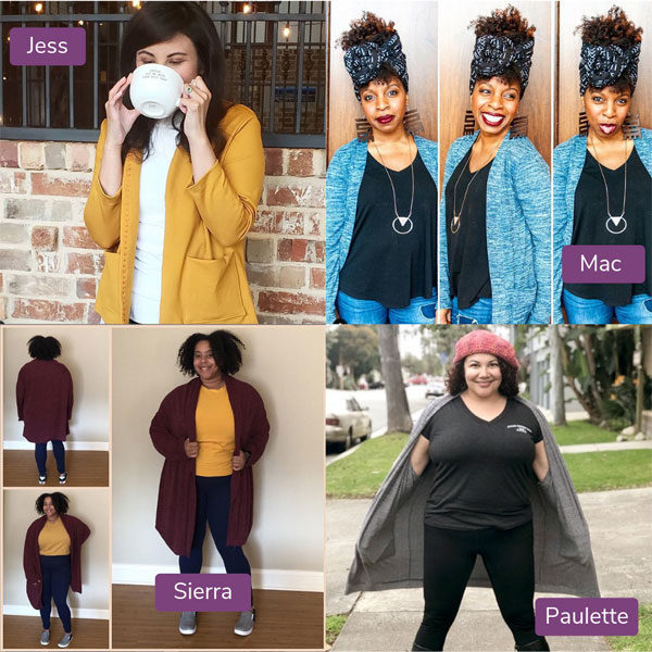 Images of 4 women in different cardigans for Sew My Style March 2019 Cardigan Month