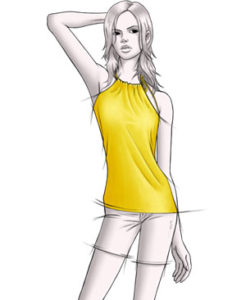 Yellow Daisy halter top on a female figure model