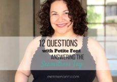 Curly haired brunette in black tank smiling at camera with text overlay 12 questions with Petite Font. Answering the seamstress tag