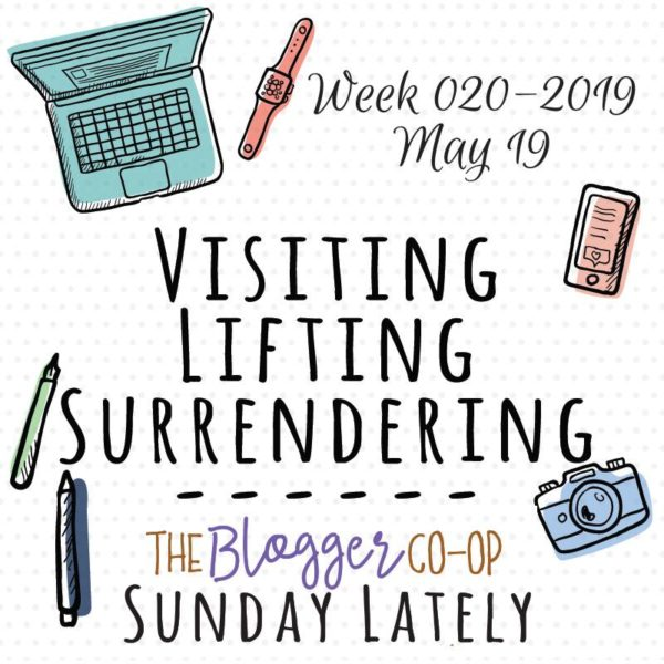 Image of computer, watch, phone, camera, and pens with text Week 020-2019 May 19 Visiting, Lifting, Surrendering -- The Blogger Co-op Sunday Lately