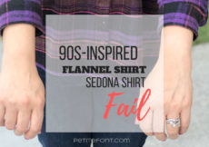 Woman's arms stretched forward showing too much wrist with text overlay in black and red that reads 90s-inspired flannel shirt Sedona shirt fail, petite font dot com