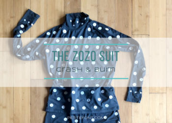 Flat lay of black turtleneck covered in white dots with text overlay that reads The Zozo Suit Crash and Burn petite font dot com