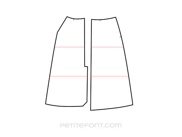 Line drawing of front and back skirt patterns with red lines indicating where they can be shortened