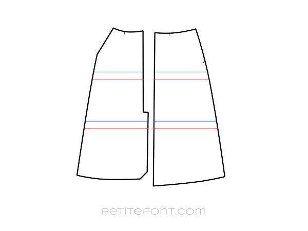 Line drawing of front and back skirt patterns with red lines indicating where they can be shortened and parallel blue lines above the red ones indicating how much to cut off