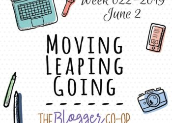 Image of computer, watch, phone, camera, and pens with text Week 022-2019 June 2 Moving, Leaping, Going -- The Blogger Co-op Sunday Lately