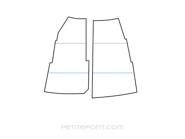 Line drawing of shortened front and back skirt pattern pieces with uneven seam lines