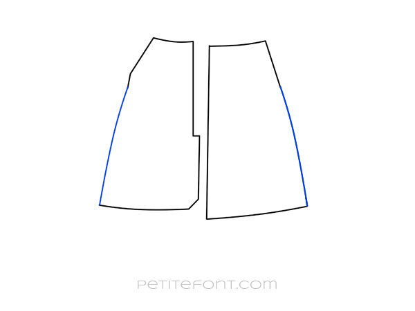 Line drawing of shortened front and back skirt pattern pieces with seam lines smoothed out