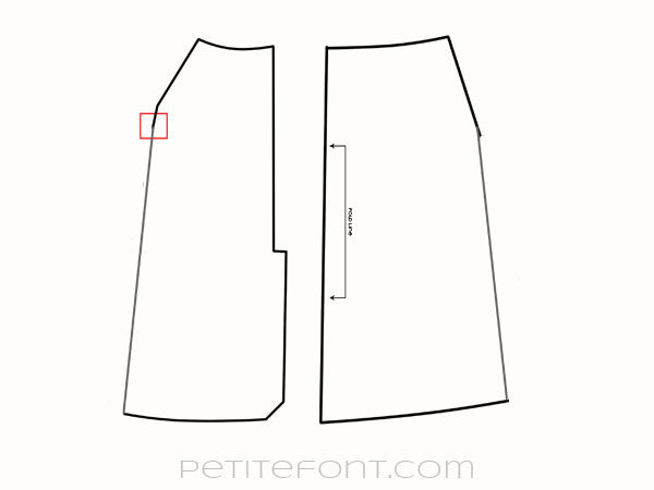 Line drawing of both front and back skirt pattern pieces, red box around skirt front hip point where seam needs to be smoothed