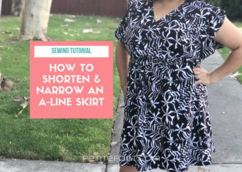 Picture of a woman's dress next to a pink box with text overlay that reads Sewing Tutorial: how to shorten and narrow an a-line skirt. Petite font dot com.